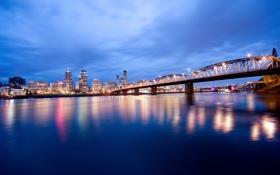 Обои небо, мост, огни, река, вечер, освещение, Орегон