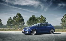 Обои небо, деревья, Opel, астра, синяя, blue, опель