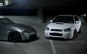 Обои silvery, Subaru, белая, серебристый, 350Z, Nissan, субару