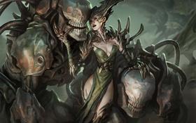 Обои девушка, арт, монстры, когти, демоница, jason chan