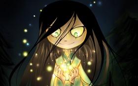 Картинка глаза, свет, волосы, блеск, руки, Девочка