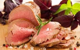 Обои зелень, мясное блюдо, Medium Rare вареной говядины Жаркое