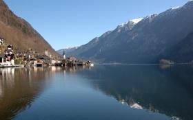 Картинка небо, вода, горы, озеро, отражение, городок, австрия