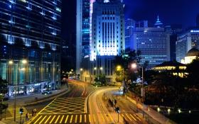 Картинка дорога, ночь, огни, здания, гонконг, hong kong