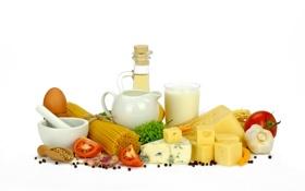 Картинка зелень, яйцо, масло, сыр, молоко, кувшин, помидор
