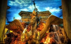 Обои Caesars Palace, Las Vegas, фонтан, пегас