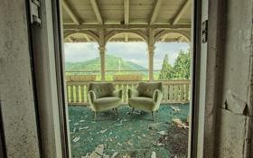 Обои фон, дверь, кресла