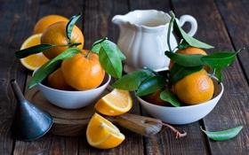 Обои мандарины, цитрусы, дольки