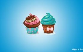 Обои еда, cake, blue, food, кексы