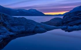 Картинка закат, горы, Норвегия, Norway, фьорд