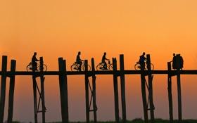 Обои велосипед, люди, силуэт, Мьянма, мост Убэйн, озеро Тангтаман, Мандалай
