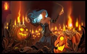 Обои девушка, магия, свечи, тыквы
