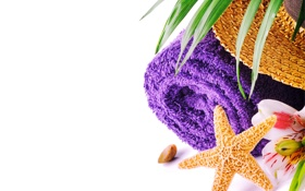 Картинка цветок, полотенце, шляпа, морская звезда