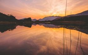 Картинка закат, озеро, отражение, холмы, зеркало