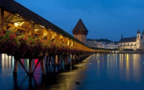 Обои мост, огни, вечер, Switzerland, Lucerne, Chapel Bridge