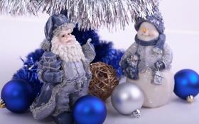 Обои синий, шары, серебряный, мишура, Дед Мороз, Снеговик