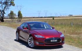 Обои Tesla, Model S, AU-spec, 2014, тесла, электрокар, P85