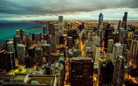 Картинка United States, Illinois, Chicago Skyline at night