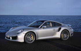 Обои Вода, Море, Авто, 911, Porsche, Машина, Серый