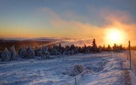 Обои Schnee, Berg, Brocken, Wolken, Morgen, Nebel, Eis