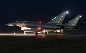 Обои многоцелевой, истребитель, вечер, Eurofighter Typhoon