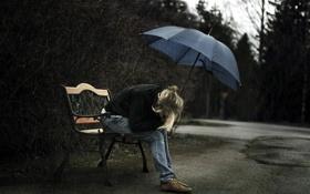 Обои девушка, дождь, зонт