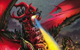 Обои Пламя, Dragon, Дыхание, Дракон