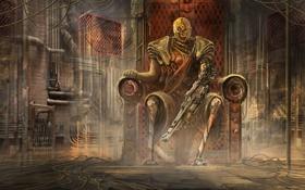 Обои трубы, оружие, фантастика, механизм, арт, трон, помещение