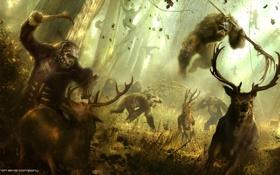 Обои лес, обезьяна, охота, антилопы, Цезарь, Caesar, Планета обезьян: Революция