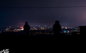 Обои крыша, ночь, city, город, люди, night, people
