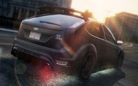 Обои дорога, брызги, город, гонка, автомобиль, need for speed most wanted 2, Ford Focus RS500