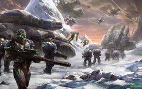 Обои снег, оружие, скалы, транспорт, планета, корабли, войны