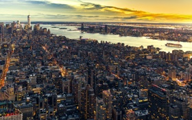 Обои здания, Нью-Йорк, панорама, Манхэттен, небоскрёбы, Manhattan, New York City