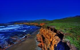Обои море, небо, обрыв, берег