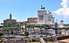 Картинка небо, Витториано, Рим, скульптура, площадь, деревья, форум