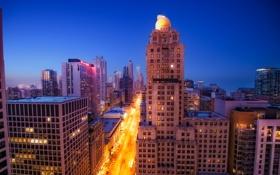 Обои ночь, город, огни, небоскребы, Чикаго, США, Chicago
