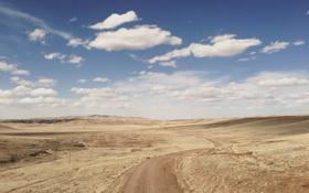 Обои road, sky, desert, clouds, hills, sunny
