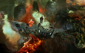 Картинка мост, замок, огонь, вулкан, извержение, разрушение, лава