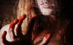 Обои стекло, девушка, капли, кровь