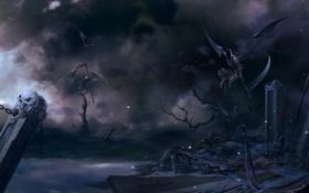 Картинка кладбище, косы, Арт, надгробия, крылья, ночь, демоны