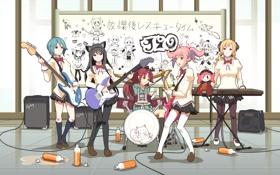 Картинка музыка, аниме, k-on, ансамбль
