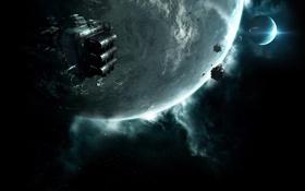 Картинка космос, звезды, планета, спутник, spaceships