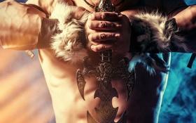 Обои оружие, фантастика, меч, мужчина, мышцы, Warriors