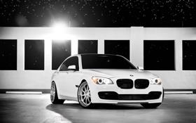 Картинка звезды, bmw, Ночь, white, седан, cars, auto