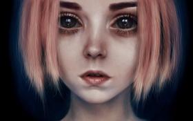 Обои волосы, глаза, лицо, рыжая, арт, анастасия, девушка