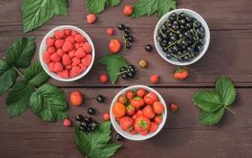 Картинка листья, ягоды, малина, стол, клубника, плоды, тарелки