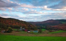 Картинка осень, небо, долина, ферма