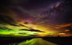 Обои звезды, ночь, сияние, река, Новая Зеландия