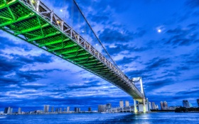 Обои облака, ночь, мост, луна, дома, Япония, Токио