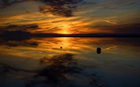 Картинка небо, вода, закат, отражение